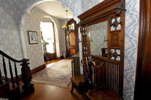 The perfect Hall tree! This antique is at Dillenbeck House-combo coat rack, umbrella stand, mirror and seat.