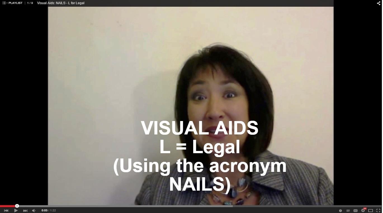 Visual Aids, L = Legal